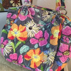 Vera Bradley Bags - Vera Bradley Floral Print Silver Accents Large Bag